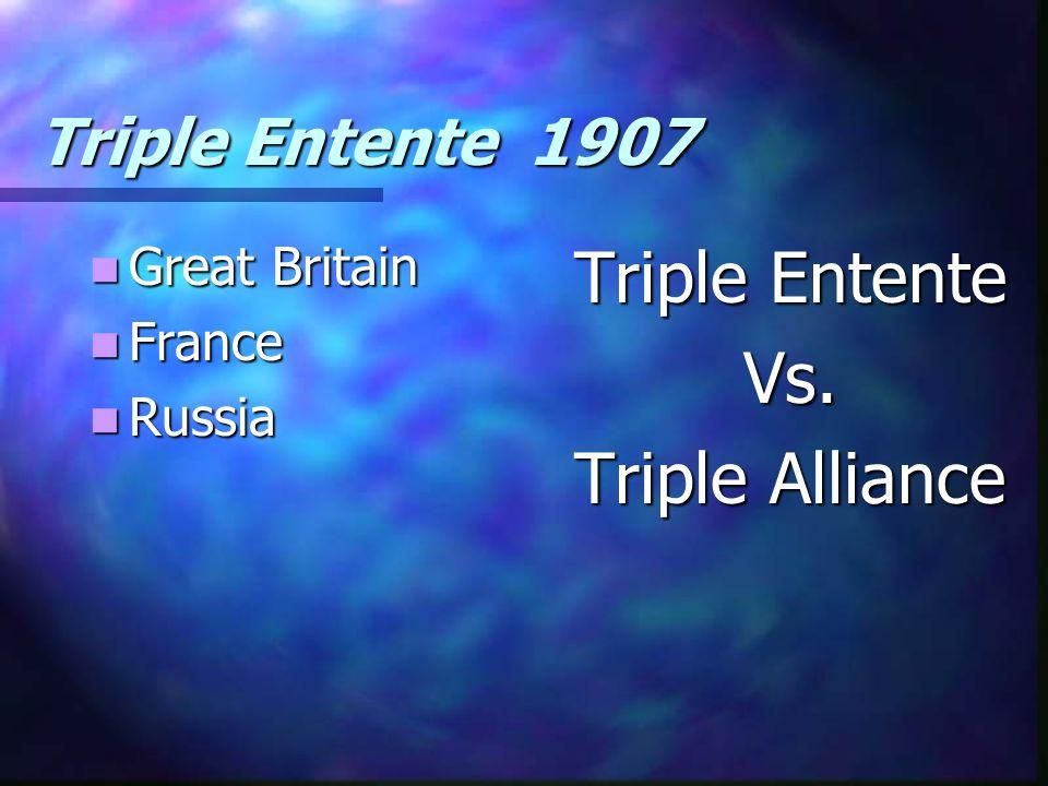 Triple Entente 1907 Great Britain Great Britain France France Russia Russia Triple Entente Vs. Triple Alliance