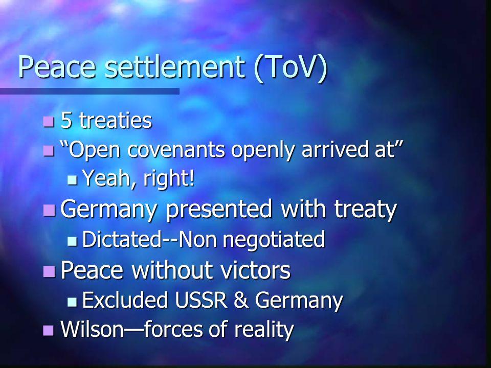 "Peace settlement (ToV) 5 treaties 5 treaties ""Open covenants openly arrived at"" ""Open covenants openly arrived at"" Yeah, right! Yeah, right! Germany p"