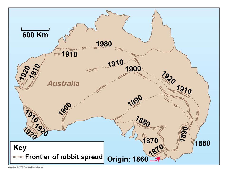 Key Frontier of rabbit spread Origin: 1860 600 Km Australia 1910 1980 1910 1920 1890 1880 1870 1900