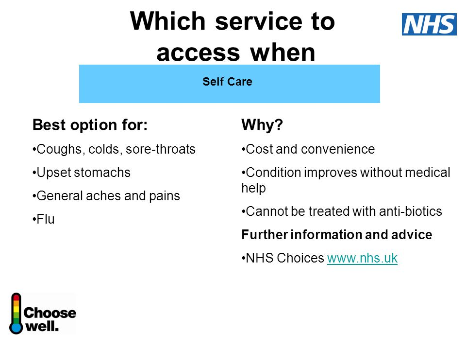 Which service to access when Self Care Best option for: Coughs, colds, sore-throats Upset stomachs General aches and pains Flu Why.