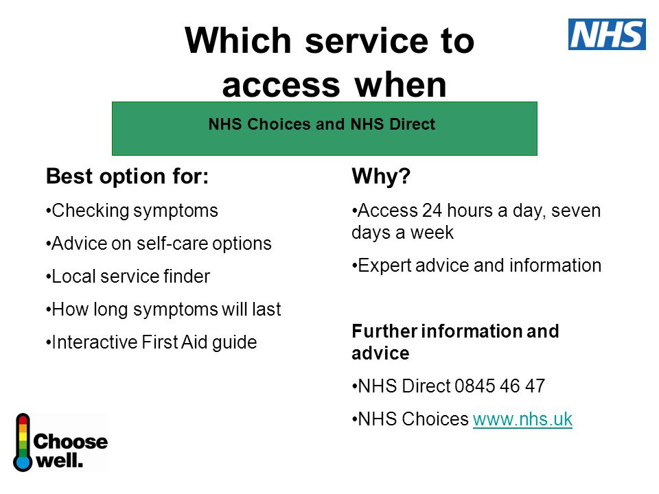 Which service to access when Best option for: Checking symptoms Advice on self-care options Local service finder How long symptoms will last Interactive First Aid guide Why.