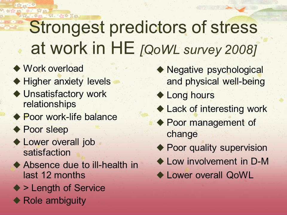 Strongest predictors of stress at work in HE [QoWL survey 2008]  Work overload  Higher anxiety levels  Unsatisfactory work relationships  Poor work-life balance  Poor sleep  Lower overall job satisfaction  Absence due to ill-health in last 12 months  > Length of Service  Role ambiguity  Negative psychological and physical well-being  Long hours  Lack of interesting work  Poor management of change  Poor quality supervision  Low involvement in D-M  Lower overall QoWL