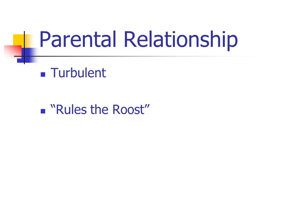 Parental Relationship Turbulent Rules the Roost