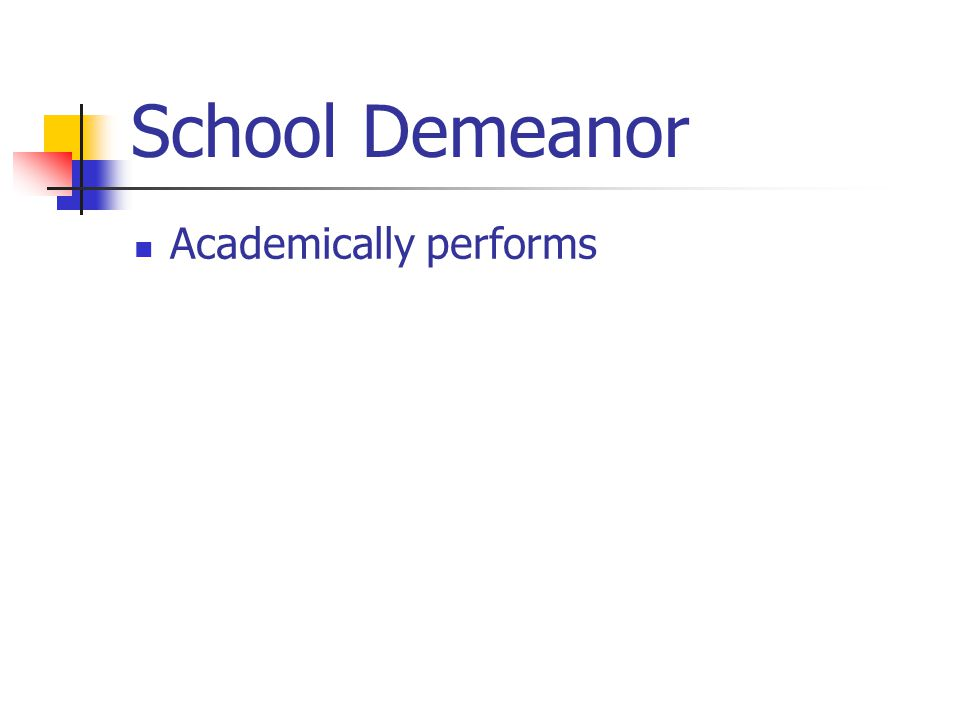 School Demeanor Academically performs