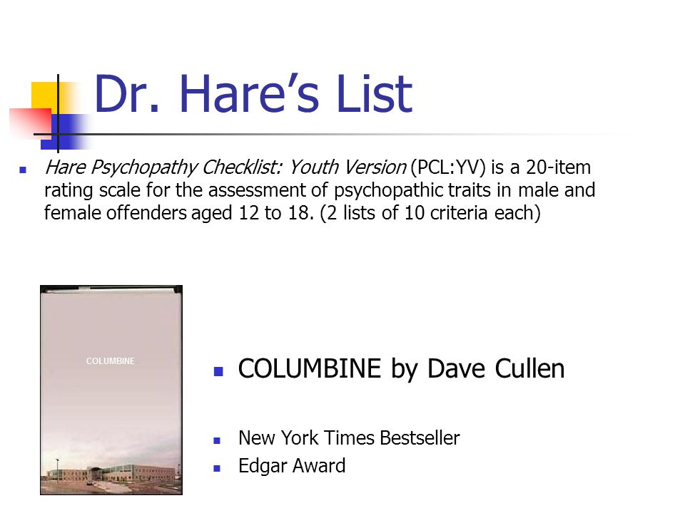 Dr. Hare's List Hare Psychopathy Checklist: Youth Version (PCL:YV) is a 20-item rating scale for the assessment of psychopathic traits in male and fem