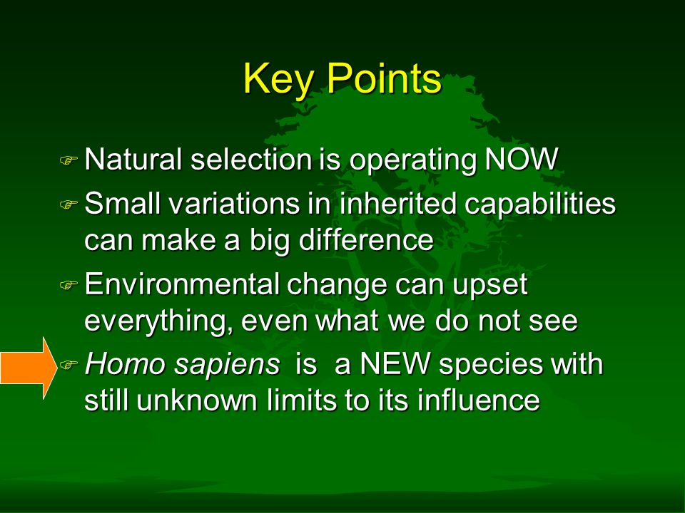 Key Points F Natural selection is operating NOW F Small variations in inherited capabilities can make a big difference F Environmental change can upset everything, even what we do not see F Homo sapiens is a NEW species with still unknown limits to its influence
