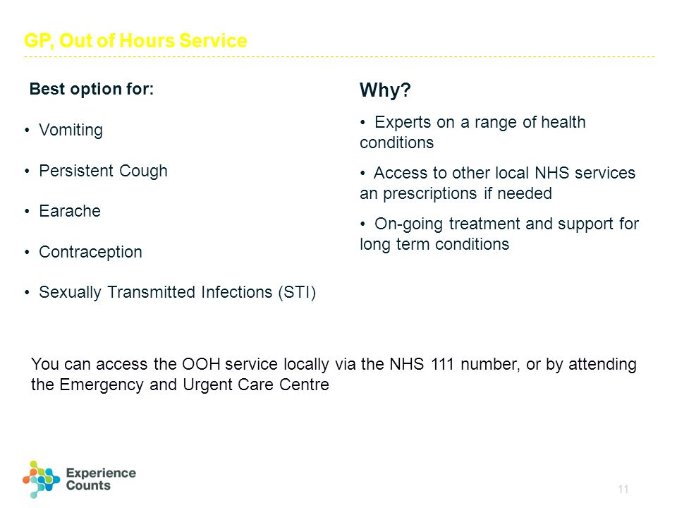 11 GP, Out of Hours Service Best option for: Vomiting Persistent Cough Earache Contraception Sexually Transmitted Infections (STI) Why? Experts on a r