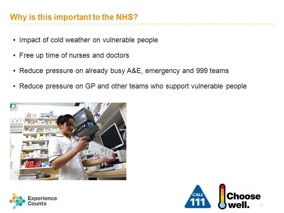4 Why is this important to the NHS? Impact of cold weather on vulnerable people Free up time of nurses and doctors Reduce pressure on already busy A&E