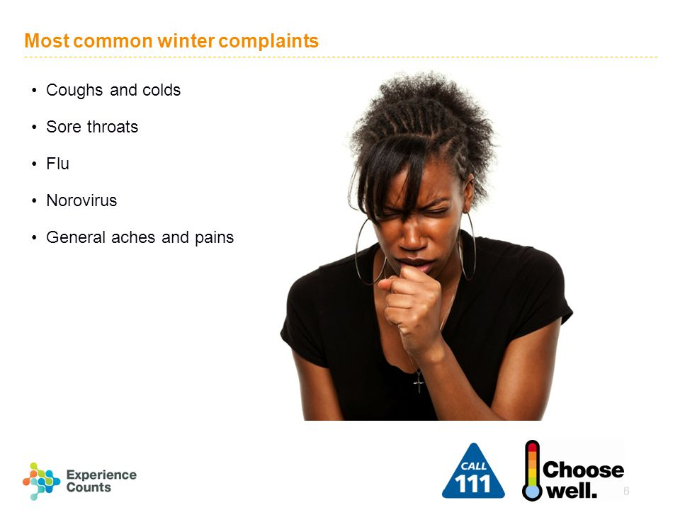 6 Most common winter complaints Coughs and colds Sore throats Flu Norovirus General aches and pains