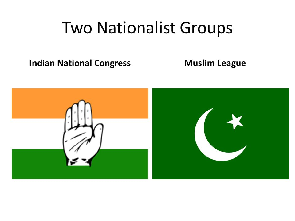 Two Nationalist Groups Indian National CongressMuslim League