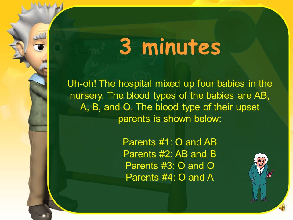 4 minutes Uh-oh. The hospital mixed up four babies in the nursery.