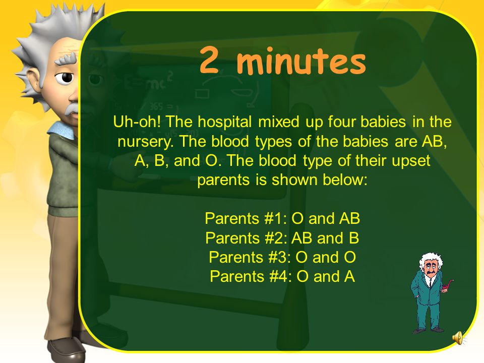 2 minutes Uh-oh.The hospital mixed up four babies in the nursery.