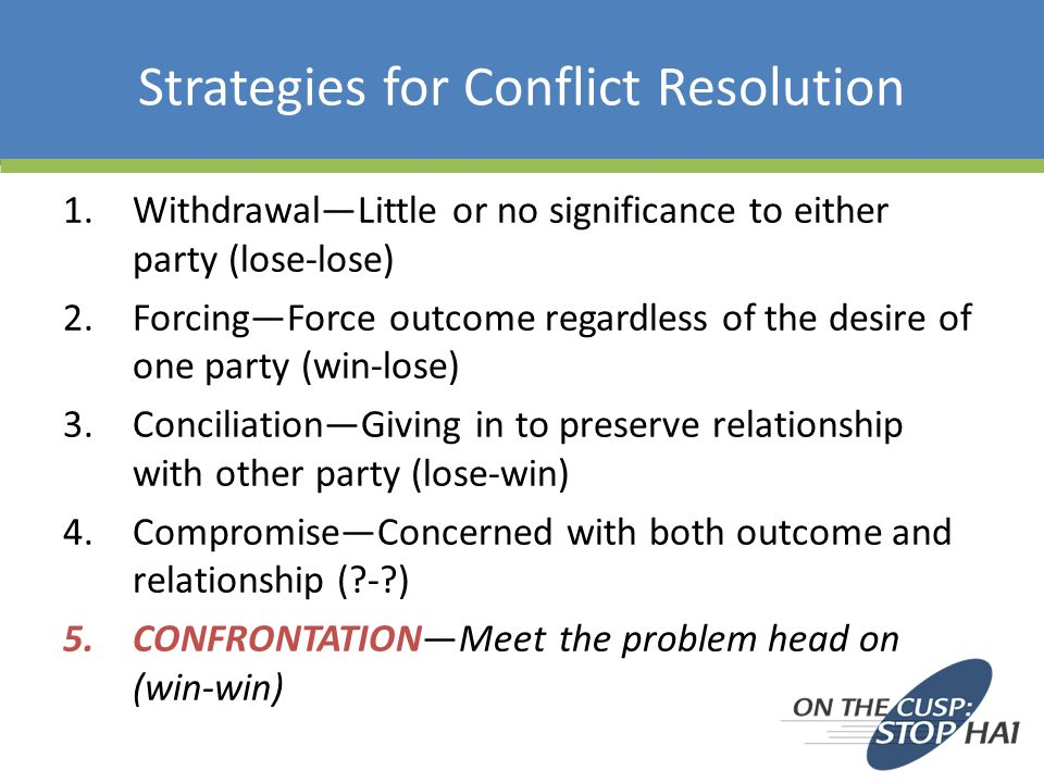 Strategies for Conflict Resolution 1.Withdrawal—Little or no significance to either party (lose-lose) 2.Forcing—Force outcome regardless of the desire of one party (win-lose) 3.Conciliation—Giving in to preserve relationship with other party (lose-win) 4.Compromise—Concerned with both outcome and relationship ( - ) 5.CONFRONTATION—Meet the problem head on (win-win)