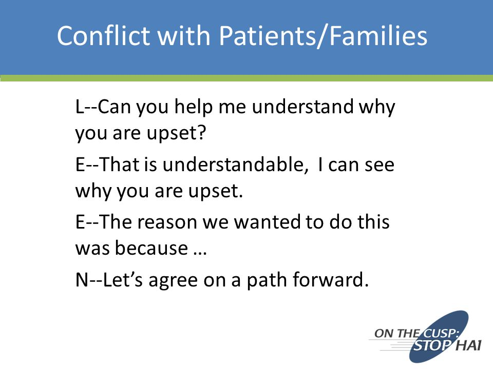 Conflict with Patients/Families L--Can you help me understand why you are upset.