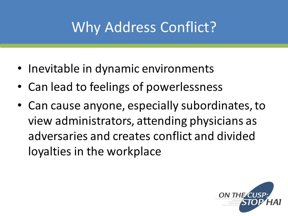 Why Address Conflict.