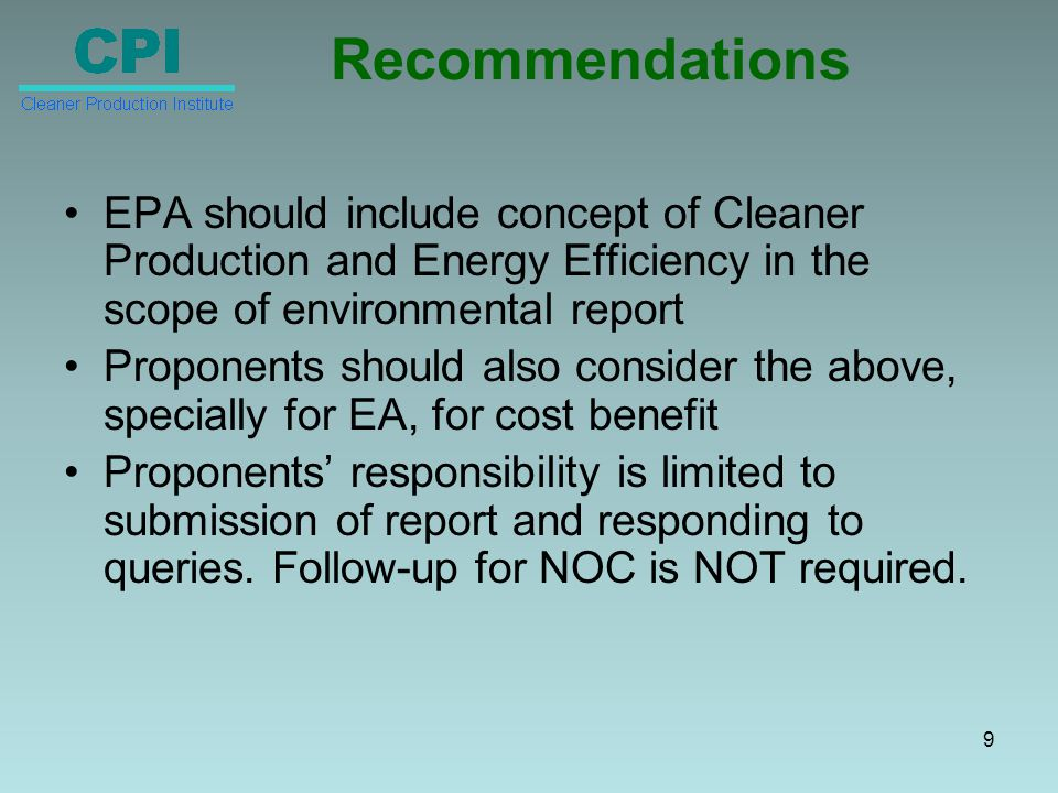 Regulatory Compliance – II Regular monitoring of emissions Compliance with NEQS Preparation of Environmental Management Plans 10