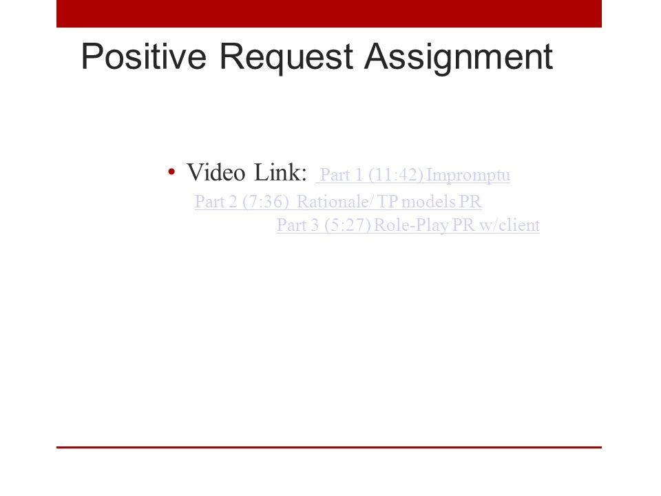 Positive Request Assignment Video Link: Part 1 (11:42) Impromptu Part 1 (11:42) Impromptu Part 2 (7:36) Rationale/ TP models PR Part 3 (5:27) Role-Play PR w/client