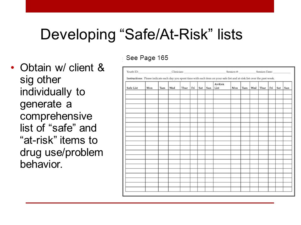 Obtain w/ client & sig other individually to generate a comprehensive list of safe and at-risk items to drug use/problem behavior.