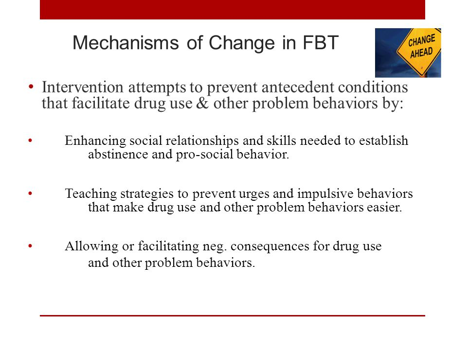Mechanisms of Change in FBT Intervention attempts to prevent antecedent conditions that facilitate drug use & other problem behaviors by: Enhancing social relationships and skills needed to establish abstinence and pro-social behavior.