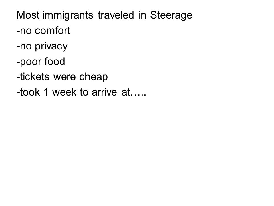 Why did people immigrate… -from homeland. -to the US.