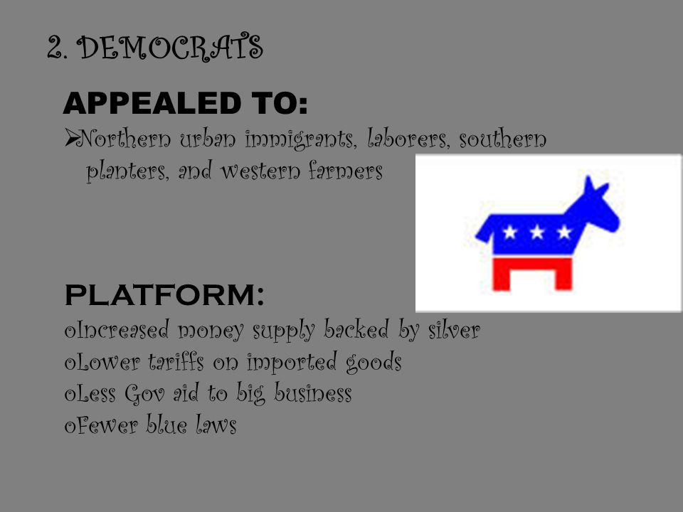 D. Opposing Political Parties Republicans appealed to: Industrialists, bankers, and eastern farmers Strongest in the North and Midwest Weakest in the