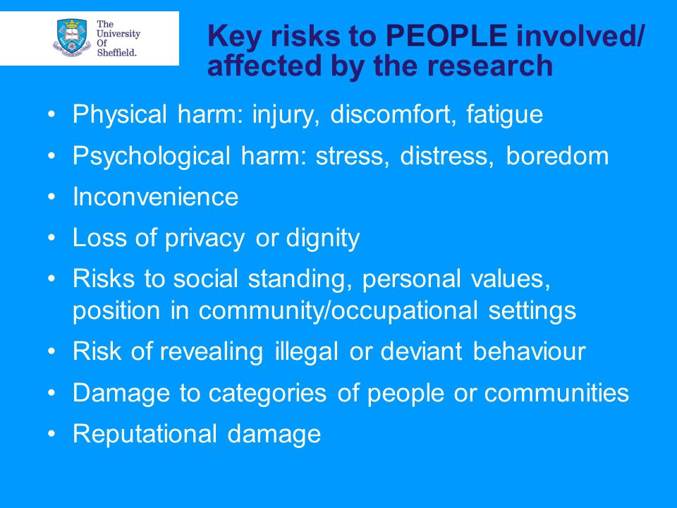 Key risks to PEOPLE involved/ affected by the research Physical harm: injury, discomfort, fatigue Psychological harm: stress, distress, boredom Inconvenience Loss of privacy or dignity Risks to social standing, personal values, position in community/occupational settings Risk of revealing illegal or deviant behaviour Damage to categories of people or communities Reputational damage
