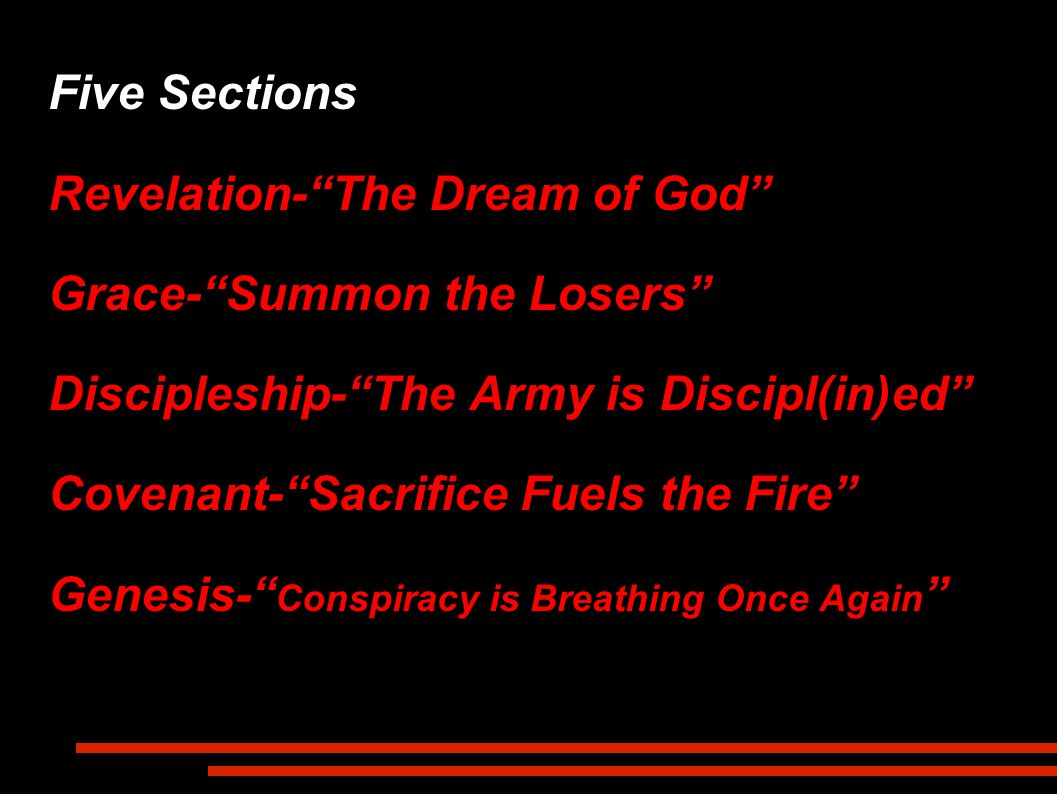 Five Sections Revelation- The Dream of God Grace- Summon the Losers Discipleship- The Army is Discipl(in)ed Covenant- Sacrifice Fuels the Fire Genesis- Conspiracy is Breathing Once Again