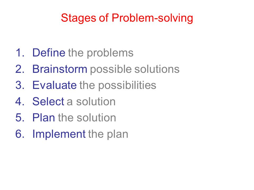 Stages of Problem-solving 1.Define the problems 2.Brainstorm possible solutions 3.Evaluate the possibilities 4.Select a solution 5.Plan the solution 6