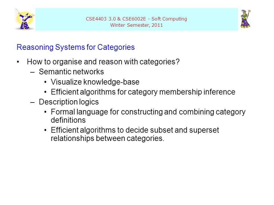 CSE4403 3.0 & CSE6002E - Soft Computing Winter Semester, 2011 Reasoning Systems for Categories How to organise and reason with categories? –Semantic n