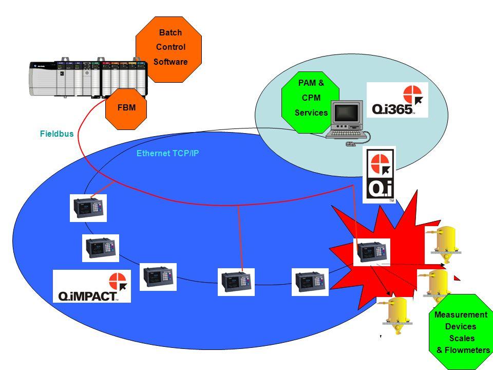 Ethernet TCP/IP Fieldbus 1 Batch Control Software PAM & CPM Services Measurement Devices Scales & Flowmeters FBM