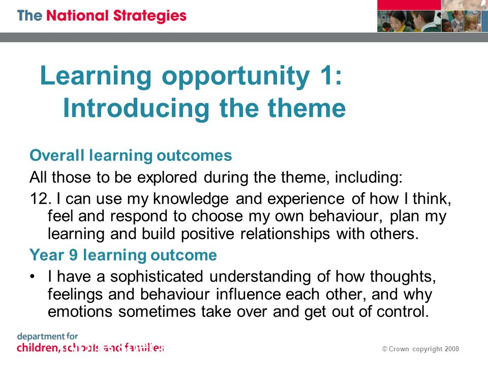 © Crown copyright 2008 Learning opportunity 1: Introducing the theme Overall learning outcomes All those to be explored during the theme, including: 1