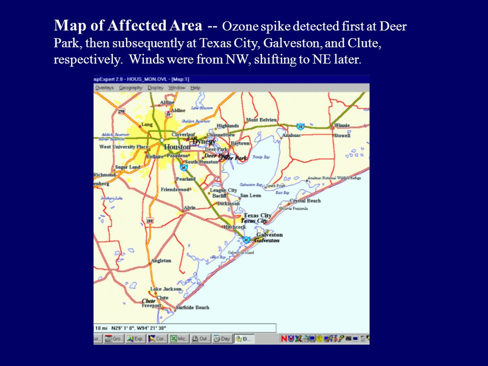 Map of Affected Area -- Ozone spike detected first at Deer Park, then subsequently at Texas City, Galveston, and Clute, respectively.