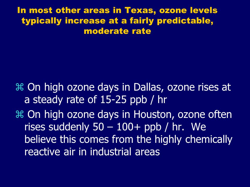In most other areas in Texas, ozone levels typically increase at a fairly predictable, moderate rate z On high ozone days in Dallas, ozone rises at a steady rate of 15-25 ppb / hr z On high ozone days in Houston, ozone often rises suddenly 50 – 100+ ppb / hr.