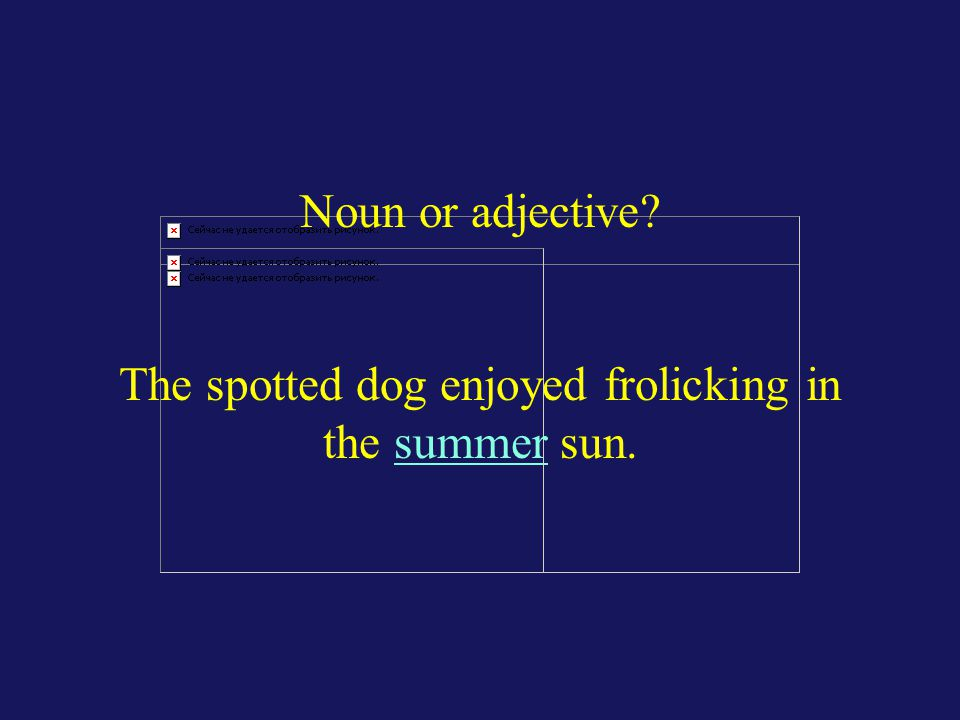 Noun or adjective? The spotted dog enjoyed frolicking in the summer sun.
