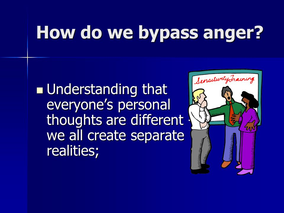 How do we bypass anger.