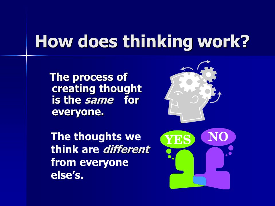 How does thinking work. The process of creating thought is the same for everyone.