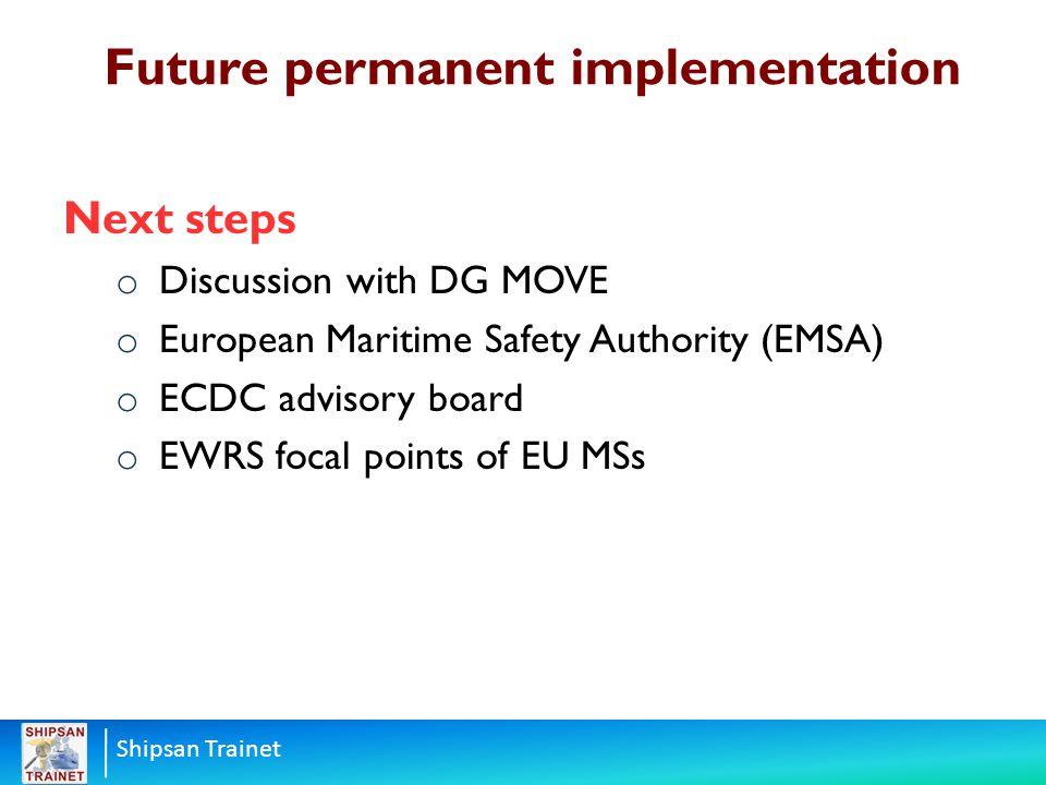 Shipsan Trainet Next steps o Discussion with DG MOVE o European Maritime Safety Authority (EMSA) o ECDC advisory board o EWRS focal points of EU MSs F