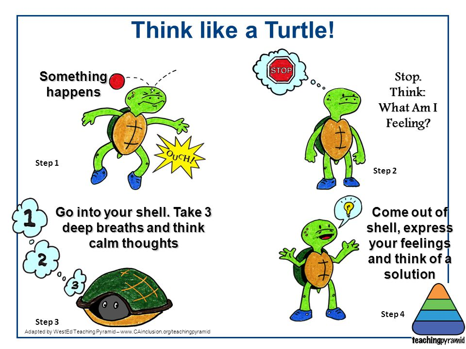 Think like a Turtle! Something happens Stop. Think: What Am I Feeling? Go into your shell. Take 3 deep breaths and think calm thoughts Come out of she