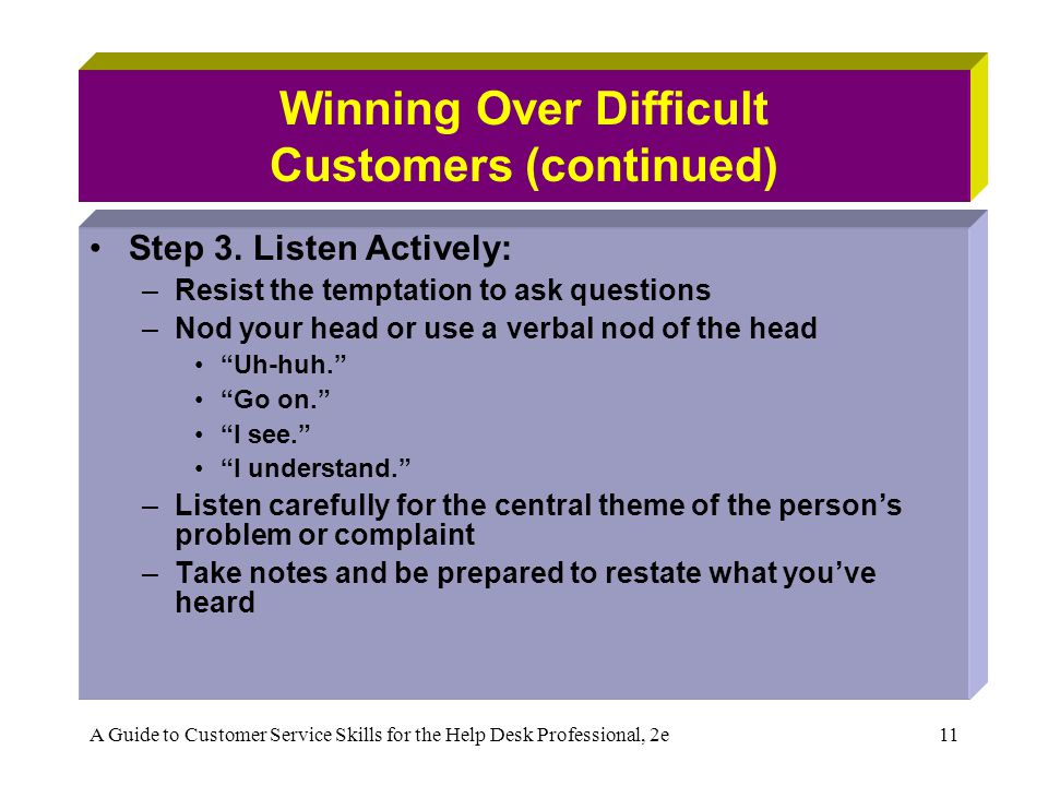 A Guide to Customer Service Skills for the Help Desk Professional, 2e11 Winning Over Difficult Customers (continued) Step 3. Listen Actively: –Resist