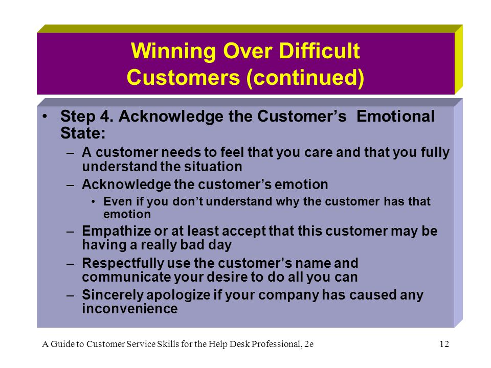 A Guide to Customer Service Skills for the Help Desk Professional, 2e12 Winning Over Difficult Customers (continued) Step 4. Acknowledge the Customer'