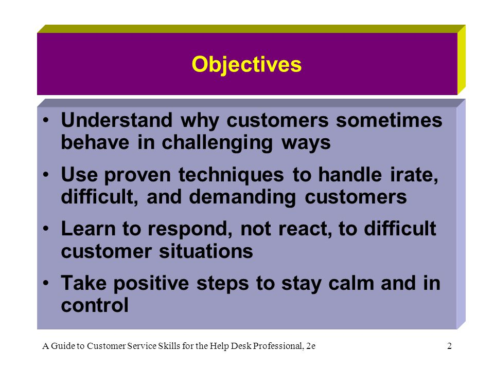 A Guide to Customer Service Skills for the Help Desk Professional, 2e2 Objectives Understand why customers sometimes behave in challenging ways Use pr