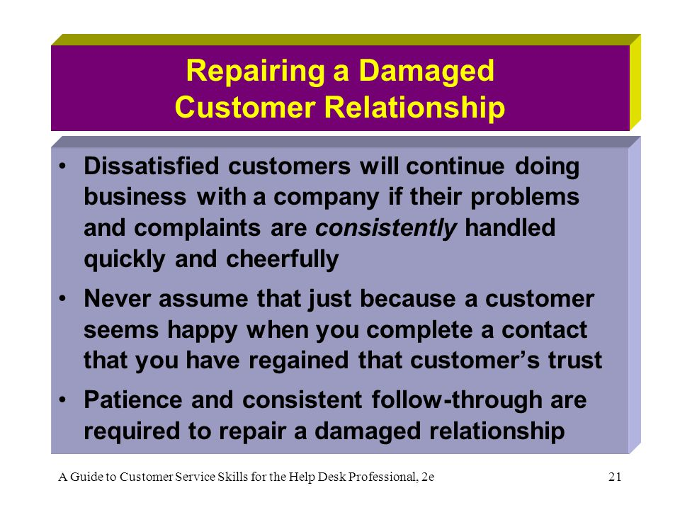 A Guide to Customer Service Skills for the Help Desk Professional, 2e21 Repairing a Damaged Customer Relationship Dissatisfied customers will continue