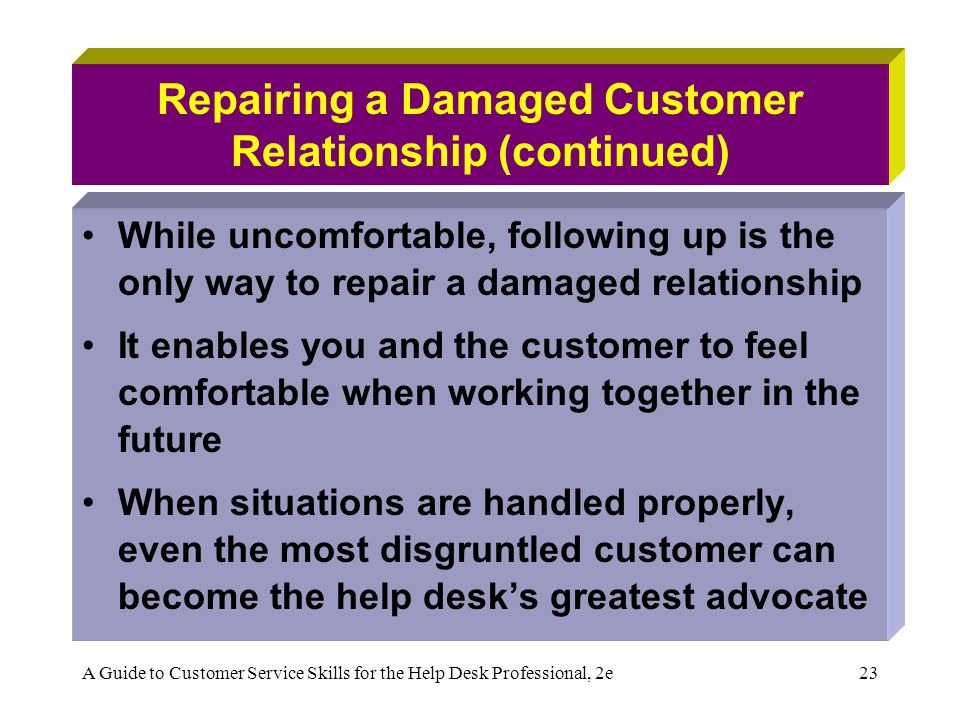 A Guide to Customer Service Skills for the Help Desk Professional, 2e23 Repairing a Damaged Customer Relationship (continued) While uncomfortable, fol