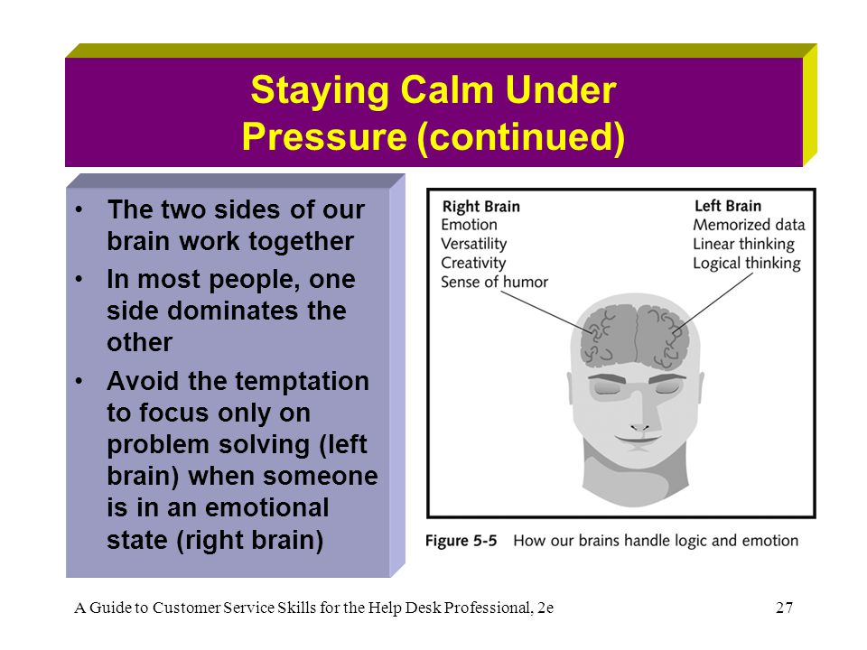 A Guide to Customer Service Skills for the Help Desk Professional, 2e27 Staying Calm Under Pressure (continued) The two sides of our brain work togeth