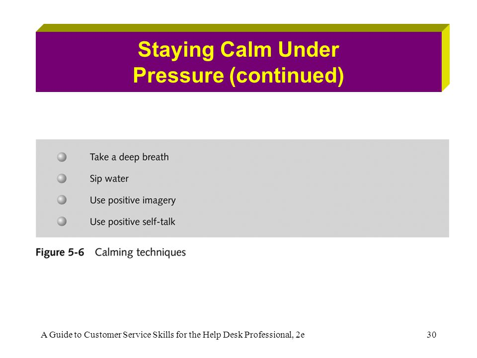 A Guide to Customer Service Skills for the Help Desk Professional, 2e30 Staying Calm Under Pressure (continued)