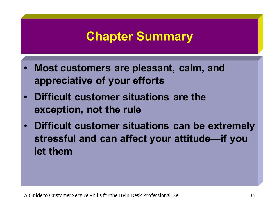 A Guide to Customer Service Skills for the Help Desk Professional, 2e36 Chapter Summary Most customers are pleasant, calm, and appreciative of your ef