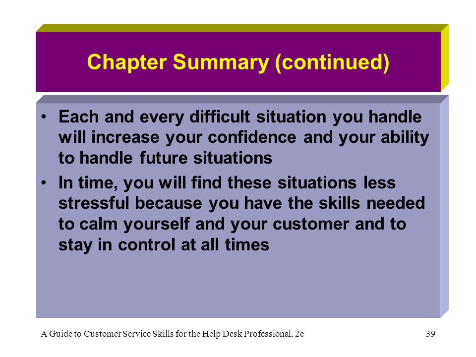 A Guide to Customer Service Skills for the Help Desk Professional, 2e39 Chapter Summary (continued) Each and every difficult situation you handle will