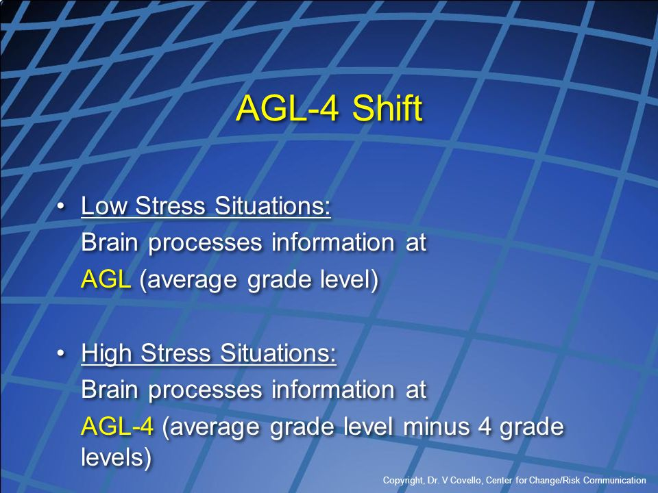 Copyright, Dr. V Covello, Center for Change/Risk Communication AGL-4 Shift Low Stress Situations: Brain processes information at AGL (average grade le