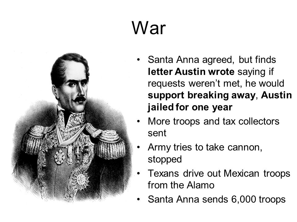 War Santa Anna agreed, but finds letter Austin wrote saying if requests weren't met, he would support breaking away, Austin jailed for one year More t