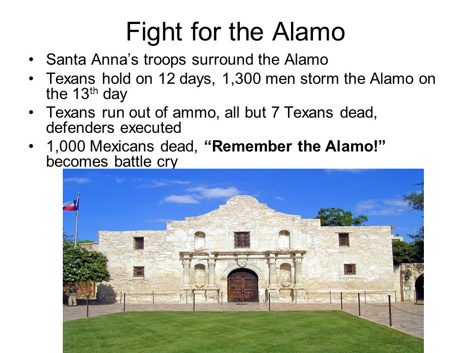 Fight for the Alamo Santa Anna's troops surround the Alamo Texans hold on 12 days, 1,300 men storm the Alamo on the 13 th day Texans run out of ammo,